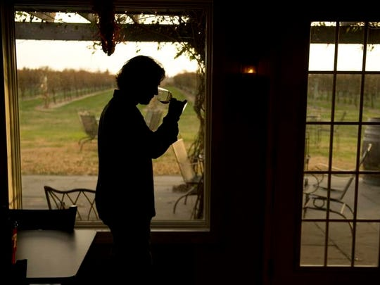 Scott Donnini sniffs a glass of wine as hes stands in the wine bar at his winery, Auburn Road Vineyard & Winery, in Pilesgrove.