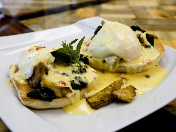 The veggie eggs Benedict are pictured at Rise! a breakfast place in Fort Collins.