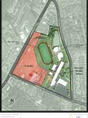The school district has surveyed McCants property and has mapped out four options of different tracts of land to sell.