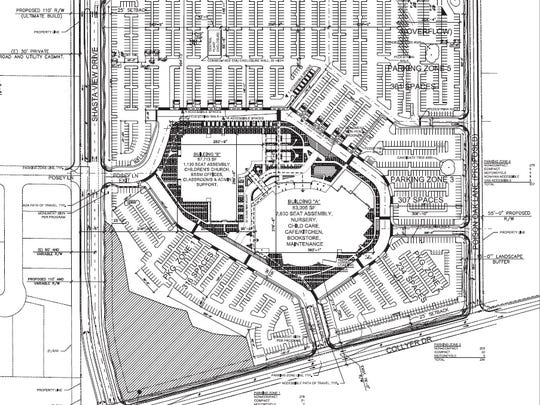 This site plan shows the proposed Bethel Church campus on Collyer Drive and Twin Tower Drive in Redding.