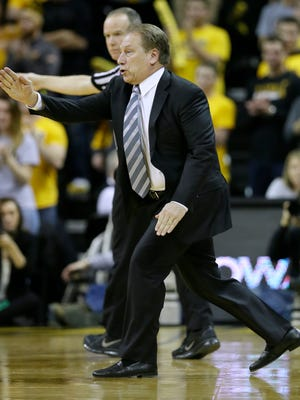 Michigan State head coach Tom Izzo reacts during the first half Thursday at Iowa.