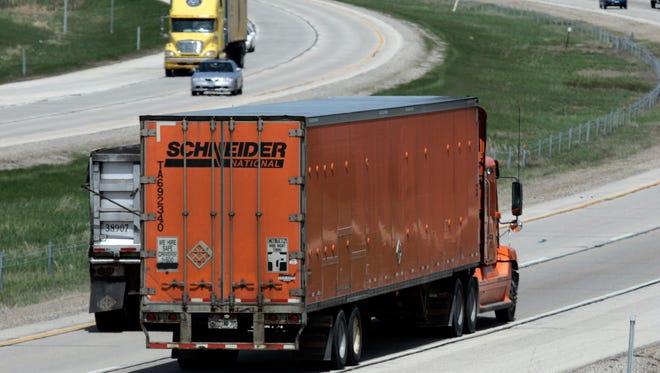 A Schneider National truck makes its way on I-43 Northbound near Highway 60 in Grafton.