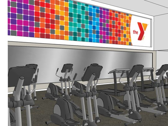 An architect's rendering of the second floor of the wellness center in a remodeled downtown Green Bay YMCA.
