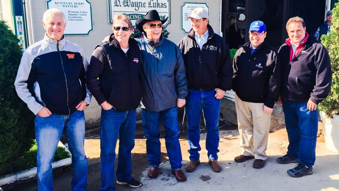 Todd Pletcher, Dallas Stewart, George Weaver, Kiaran McLaughlin and Mike Maker gathered outside of old boss D. Wayne Lukas' barn Wednesday at Churchill Downs.