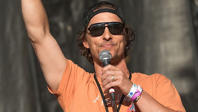 Matthew McConaughey introduces Willie Nelson  during the Austin City Limits Music Festival on Sunday, Oct. 9.