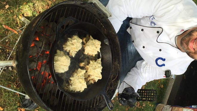 When the Colts play Baltimore, you'll find Ed Holloran cooking up authentic crab cakes (shown on grill) and pit beef.