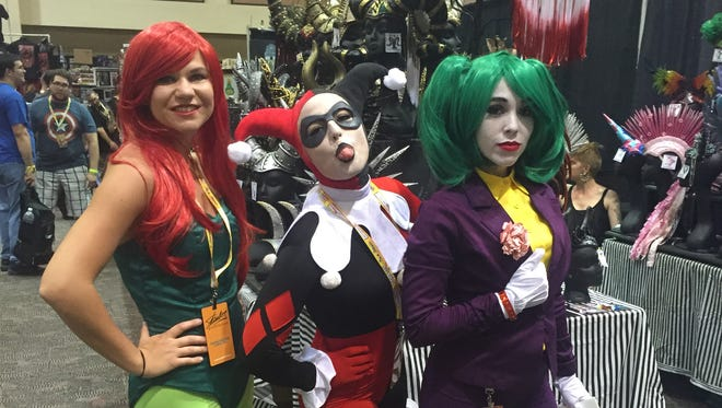 Alexis Hadnagy, Trina Melton and Kristal Glenn brought their DC diva cosplay to Comic Con Palm Springs on Friday.