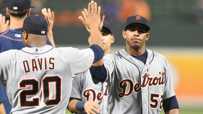 Yoenis Cespedes of the Detroit Tigers celebrates a win July 30, 2015, in Baltimore, Maryland.