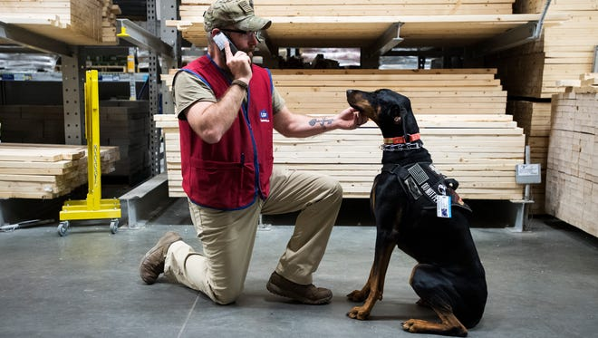 Tony Swett pets his service dog Cooper as he speaks on the phone with a coworker at Lowe's in Spartanburg on Wednesday, April 5, 2017.