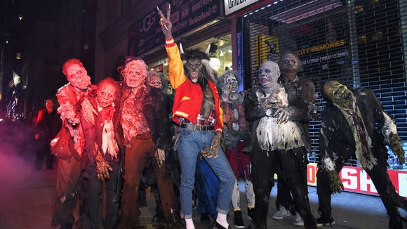 """Here's Heidi Klum last year, as a werewolf inspired by the one in Michael Jackson's """"Thriller."""""""