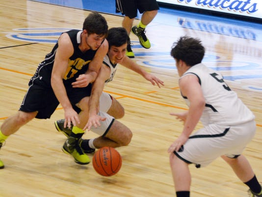 ANI Grace Christian vs. Fairview Fairview's Brennan Maddox (11, far left) and Grace Christian's Peter LeBouef (2) and Jacob Ladner (5, far right) go after a loose ball Friday, March 6, 2015.-Melinda Martinez/mmartinez@thetowntalk.com The Town Talk Gannett