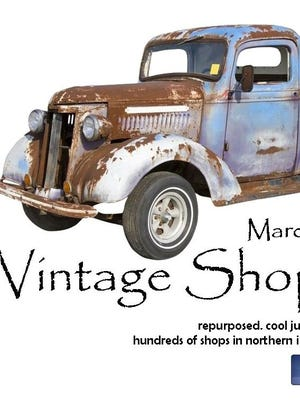Vintage Shop Hop signs feature an old truck.