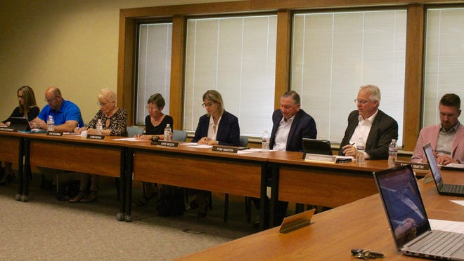 The West Ottawa Public Schools Board of Education during a June 2019 meeting. The board met Tuesday to discuss the recruitment process for a new superintendent.