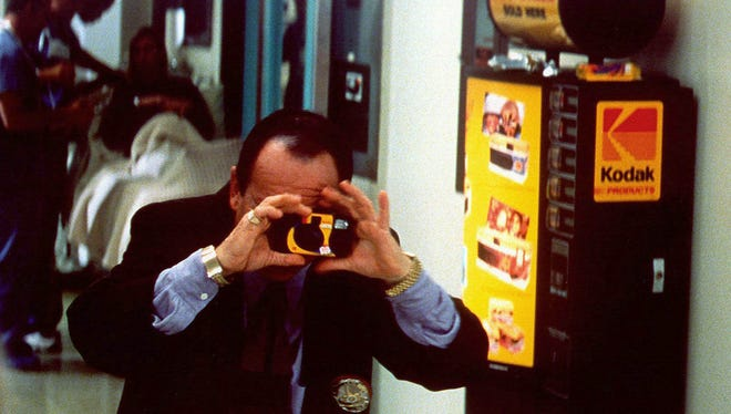 In the closing minutes of 'Lethal Weapon 4'  — Joe Pesci bemoans the fact that no one has a camera to record the birth of Rene Russo's baby, so he buys a Kodak one-time-use camera in the hospital to capture the moment.