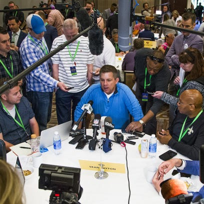 Saints coach Sean Payton answers media questions at