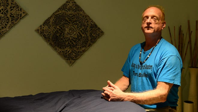 Tommy Gibson, who is legally blind, has been a massage therapist for 16 years and is pictured here at Dimitra Yoga located in Rehoboth Beach, De. Monday, August 7, 2017.