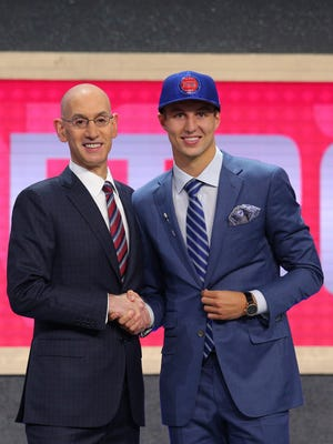 Luke Kennard (Duke) is introduced by NBA commissioner Adam Silver as the No. 12 overall pick to the Pistons in the first round of the 2017 NBA Draft at Barclays Center.