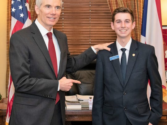 Ohio Sen. Rob Portman with Caleb Shriver. The River View High School student recently graduated from the United State Senate Page Program. Shriver was one of 30 students across the country to be appointed for the spring semester. Shriver attended classes, worked daily in the capitol building and on the senate floor.