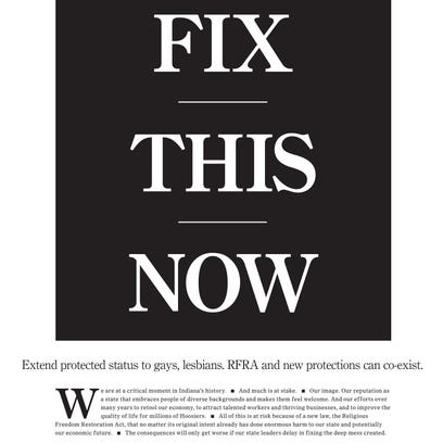 From an editorial on the front page of The Indianapolis