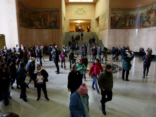 Hundreds enter the Oregon State Capitol to speak with