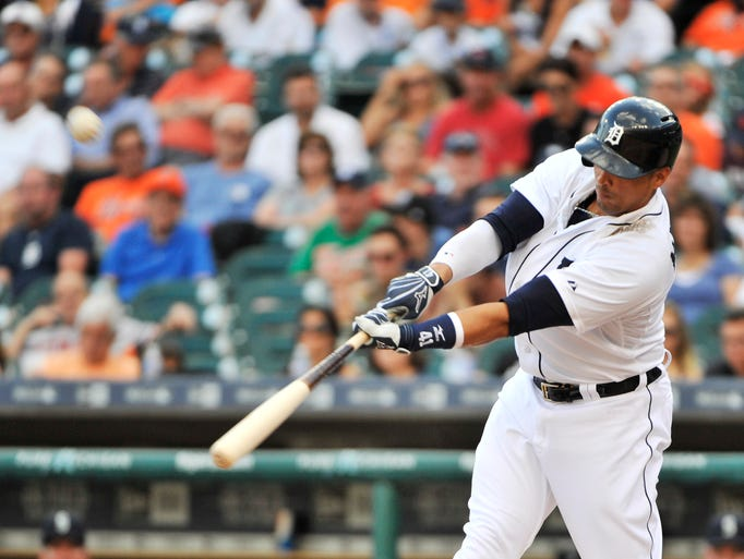 Detroit Tigers' Victor Martinez flies out in the second