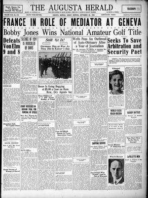 The front page of the September 28, 1924, Augusta Herald, featuring the news that amateur golfer Bobby Jones had won the U.S. Amateur.
