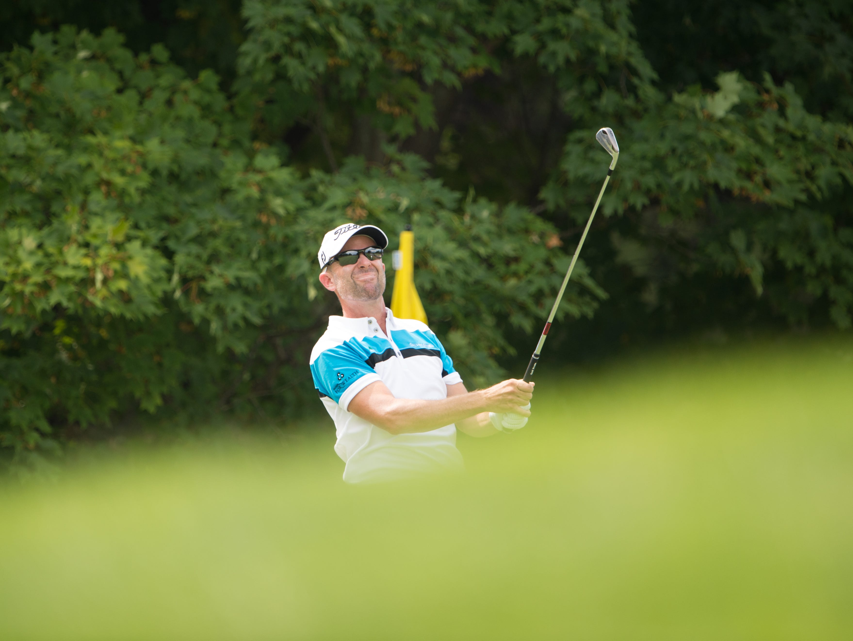 SPRINGFIELD, NJ - JULY 28: PGA Club Professional, Rob Labritz hits his tee shot on the 12th hole during the first round of the 98th PGA Championship held at the Baltusrol Golf Club on July 28, 2016 in Springfield, New Jersey. (Photo by Montana Pritchard/The PGA of America)