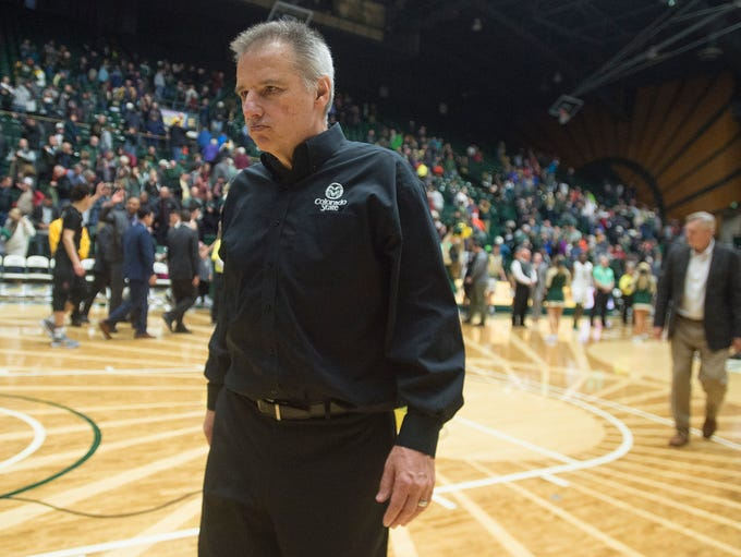 CSU coach Larry Eustachy walks off the court after