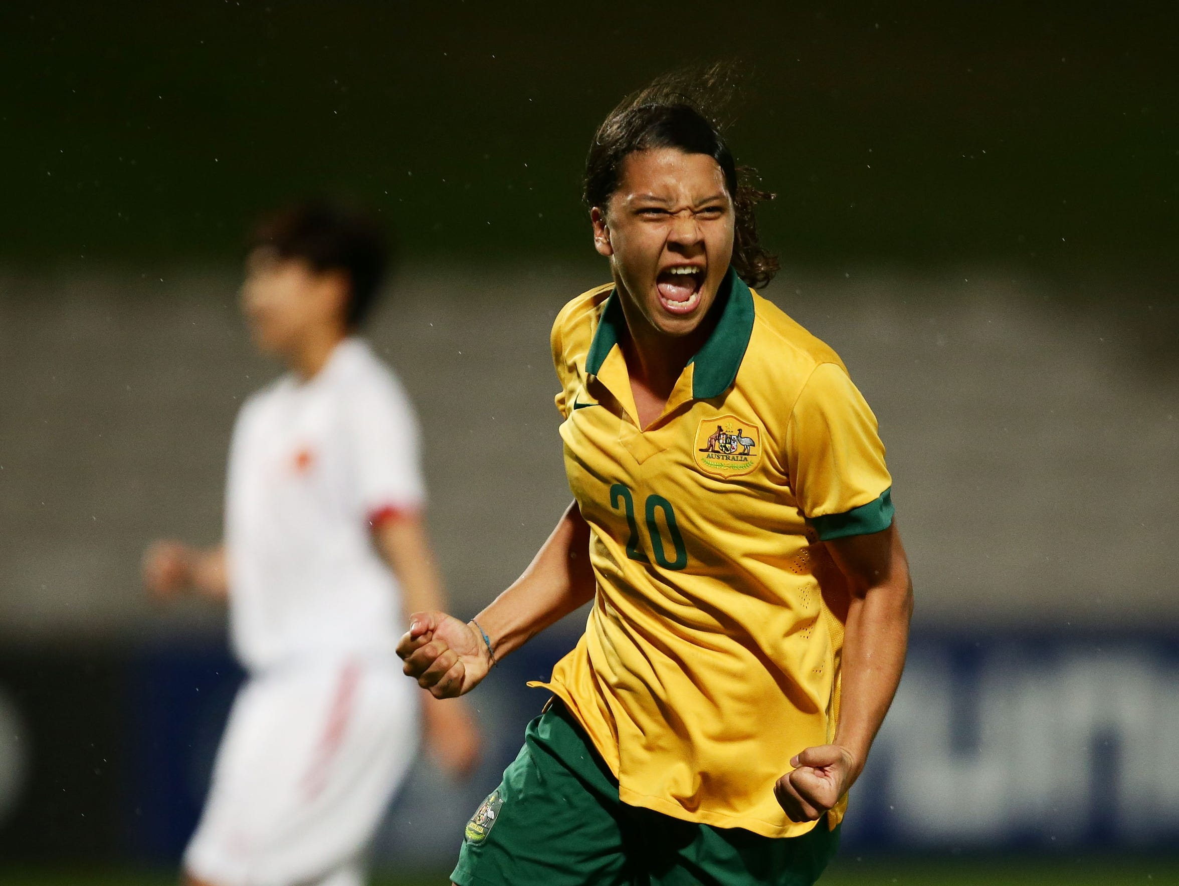 Australia's Samantha Kerr reacts after scoring a goal