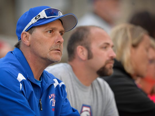 St. Cloud Apollo parent Gary Schleicher keeps a close eye on the action as he watches his son, Adam, a senior second baseman, play against St. Cloud Tech on Wednesday, May 25, 2016, at Dick Putz Field.