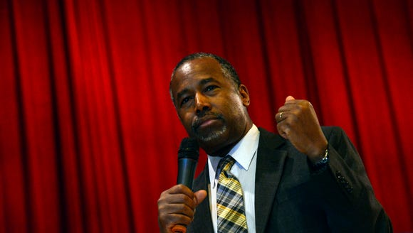 Ben Carson speaks at a town hall event hosted by the