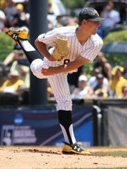 Southern Miss pitcher Kirk McCarty delivers to the