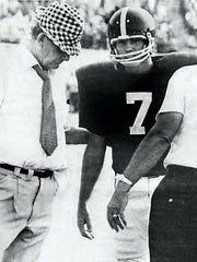 "Bucky Berrey (7) with Coach Paul ""Bear"" Bryant"