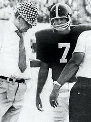 "Bucky Berrey (7) with Coach Paul ""Bear"" Bryant"