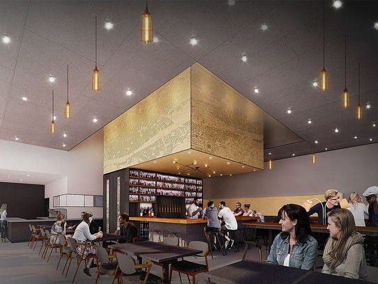 An artist's rendering of the interior and bar of Fellow Osteria, a new Italian restaurant from Born & Raised Hospitality, coming to SkySong in Scottsdale in September.