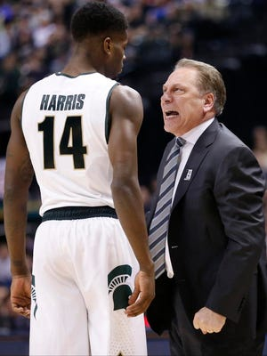 Michigan State coach Tom Izzo confronts Eron Harris during the second half against Purdue in the finals at the Big Ten Tournament on Sunday in Indianapolis.