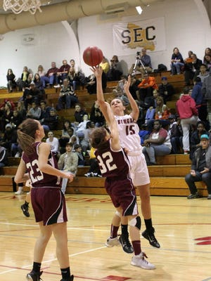 Grace Cannon (15) had 19 points and six rebounds for Bloomfield against West Essex.