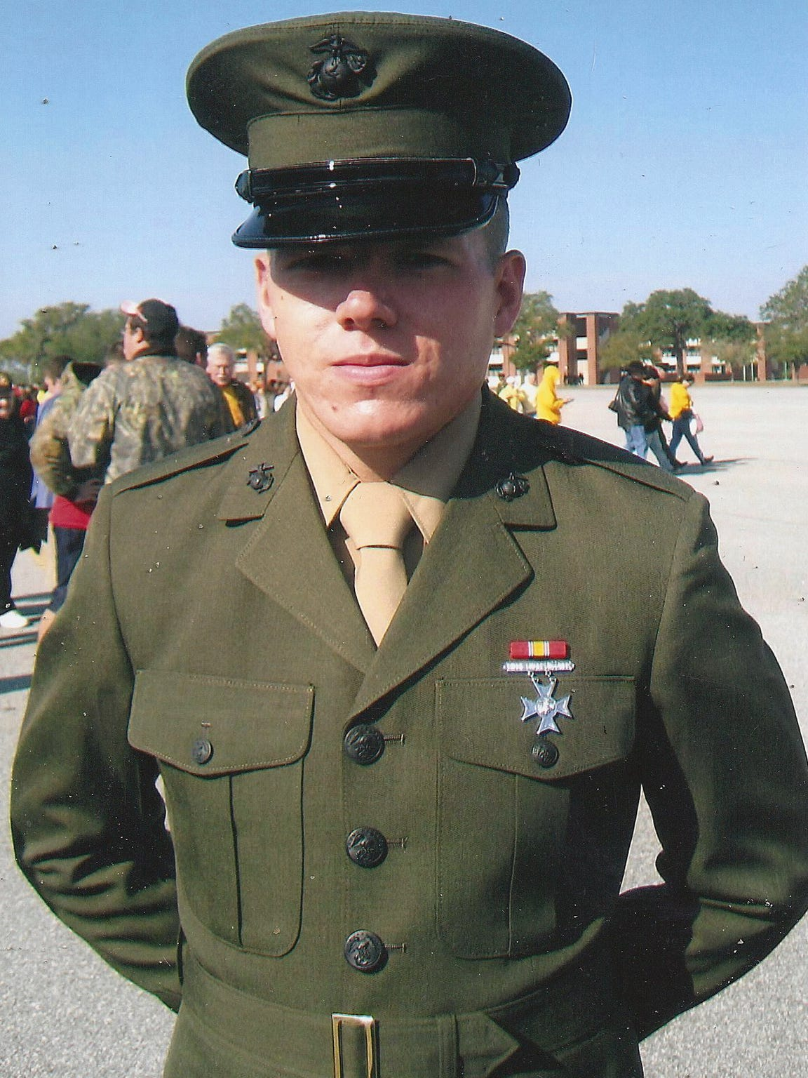 Marine veteran Jacob Faulkner pictured in uniform.