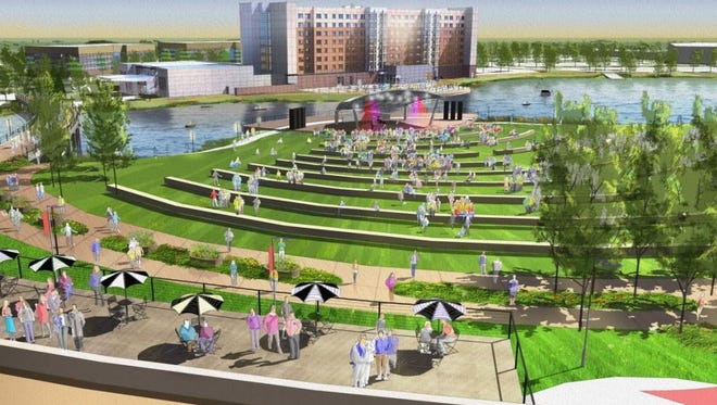 A rendering of the amphitheater for Waukee's proposed 25-acre Reinvestment District that is a part of the city's larger Kettlestone development.