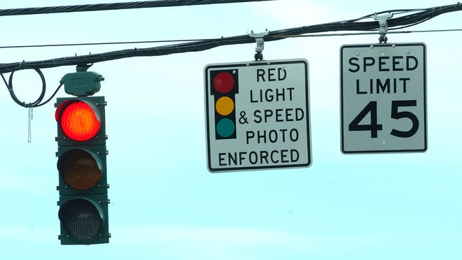 Red light cameras at the intersection of Johnston Street  and College Road July 26, 2010, in Lafayette. Photo by Brad Kemp