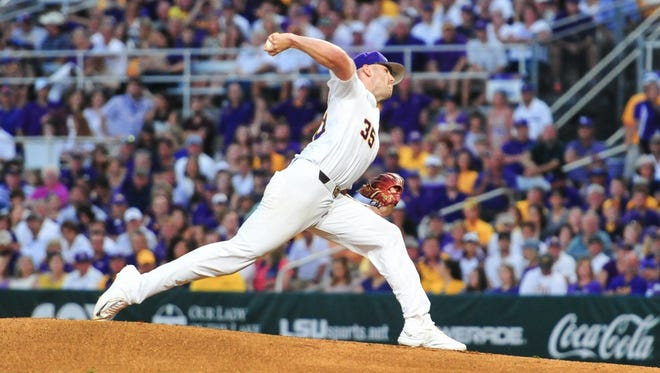 Starting pitcher Alex Lange on the mound as Mississippi State takes on LSU in the NCAA Super Regional at Alex Box Stadium in Baton Rouge Saturday, June 10, 2017.