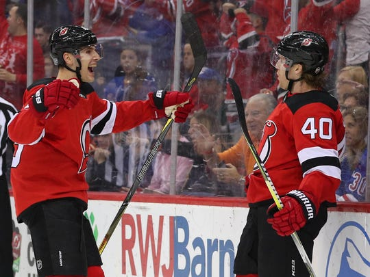 Dec 21, 2017; Newark, NJ, USA; New Jersey Devils center Blake Coleman (40) celebrates his goal during the second period of their game against the New York Rangers at Prudential Center.