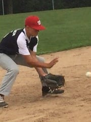 Wausau National's Landon Parlier fields a grounder at third during a drill Wednesday at Doepke Park.