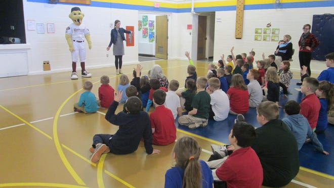 Trinity Lutheran School, Menasha, students were treated to a visit with Fang from the Timber Rattlers. Fang came to encourage students to read during the reading program.