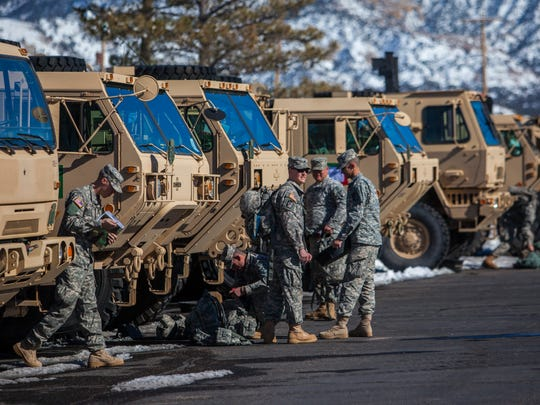 Soldiers with the 213th Forward Support Company get