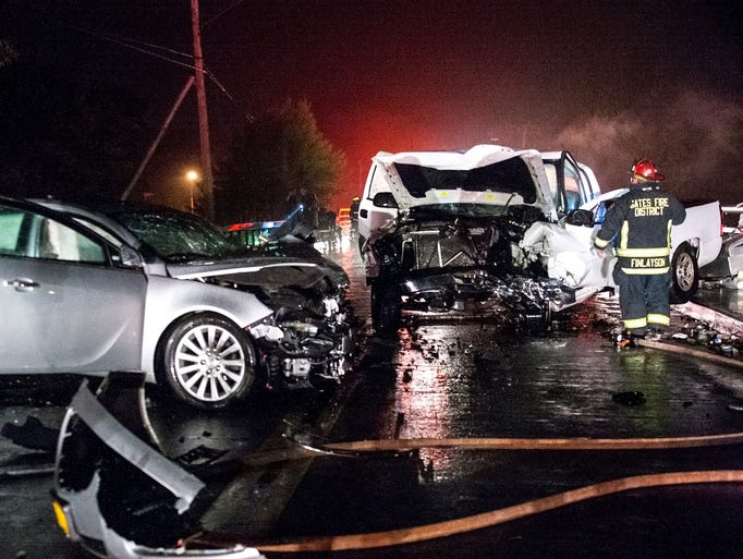 One person was critically injured in a two-vehicle crash in the town of Gates late Sunday night.