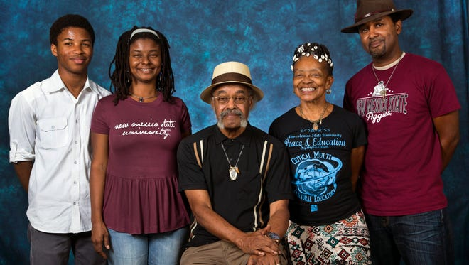 Three generations of the DeMund family moved to Las Cruces to continue their academic careers at New Mexico State University. From left, Alchesay DeMund, freshman; Ilé DeMund, graduate student; Harold DeMund, audits courses; Norma DeMund, doctoral student; and Sulieman DeMund, graduate student, found the right fit at NMSU.