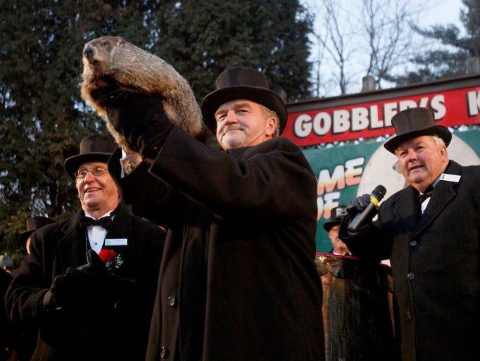 Groundhog Club co-handler John Griffiths holds Punxsutawney