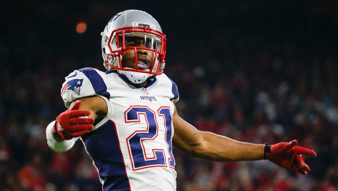 New England Patriots cornerback Malcolm Butler (21) reacts during the game against the Houston Texans at NRG Stadium.