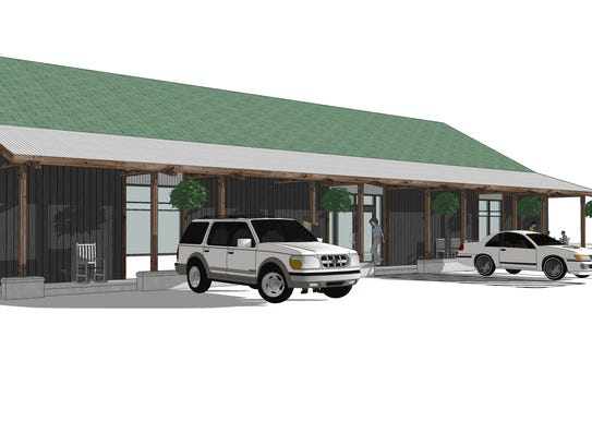 An architectural rendering shows the exterior of a